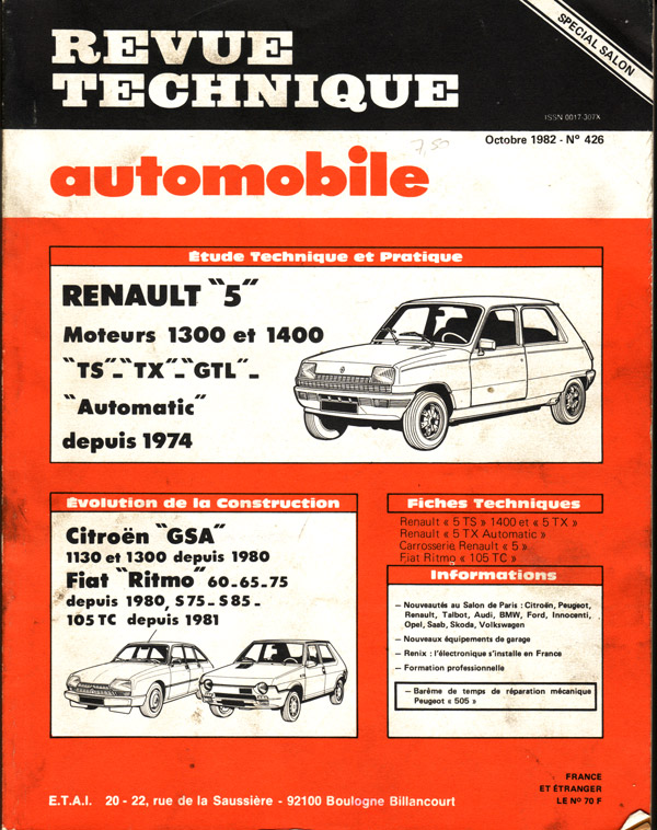 Revue Technique Automobile ETAI Renault 5