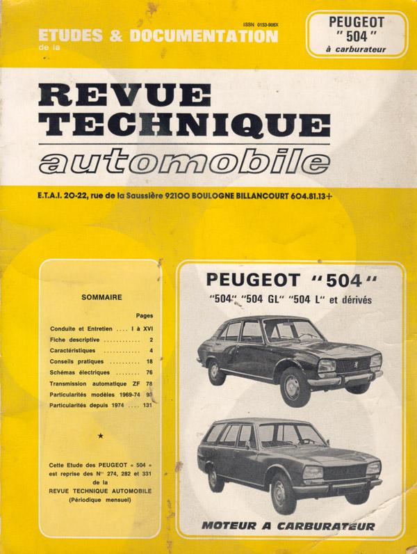 Revue Technique Automobile ETAI Peugeot 504