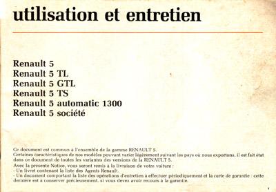Manuel utilisation et entretien Renault 5